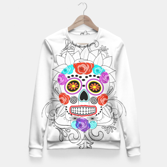Thumbnail image of Day Of The Dead Sugar Skull Funky Design Fitted Waist Sweater, Live Heroes