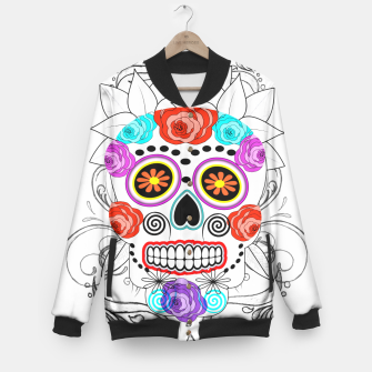 Thumbnail image of Day Of The Dead Sugar Skull Funky Design Baseball Jacket, Live Heroes