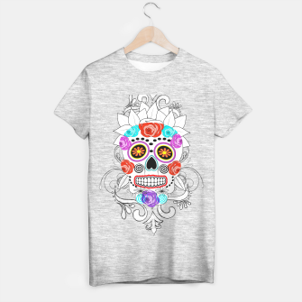 Thumbnail image of Day Of The Dead Sugar Skull Funky Design T-shirt regular, Live Heroes