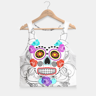 Thumbnail image of Day Of The Dead Sugar Skull Funky Design Crop Top, Live Heroes