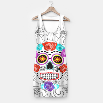 Thumbnail image of Day Of The Dead Sugar Skull Funky Design Simple Dress, Live Heroes