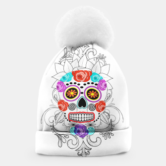 Thumbnail image of Day Of The Dead Sugar Skull Funky Design Beanie, Live Heroes