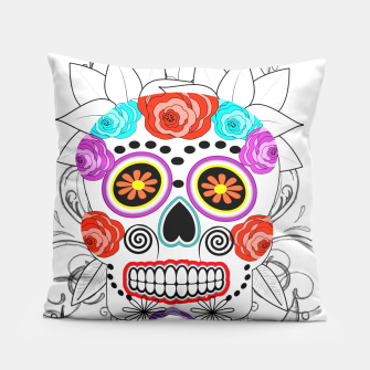 Thumbnail image of Day Of The Dead Sugar Skull Funky Design Pillow, Live Heroes