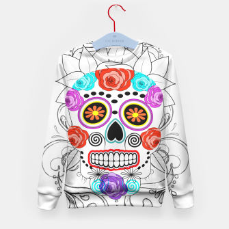 Thumbnail image of Day Of The Dead Sugar Skull Funky Design Kid's Sweater, Live Heroes