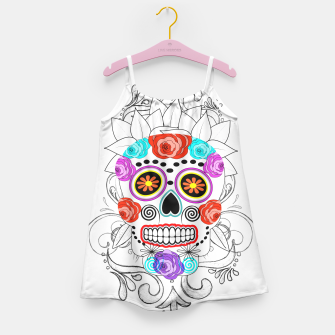 Thumbnail image of Day Of The Dead Sugar Skull Funky Design Girl's Dress, Live Heroes