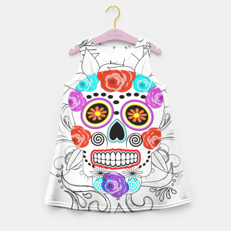 Thumbnail image of Day Of The Dead Sugar Skull Funky Design Girl's Summer Dress, Live Heroes