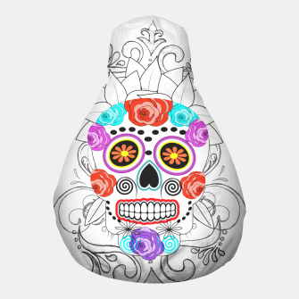 Thumbnail image of Day Of The Dead Sugar Skull Funky Design Pouf, Live Heroes