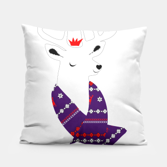 Thumbnail image of Cute Christmas Fun Stag Deer  Pillow, Live Heroes