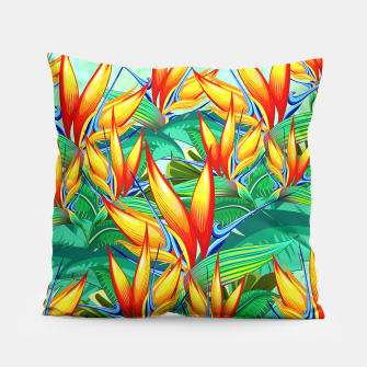 Thumbnail image of Bird of Paradise Flower Exotic Nature Pillow, Live Heroes