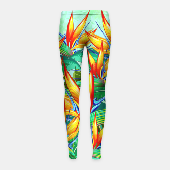 Thumbnail image of Bird of Paradise Flower Exotic Nature Girl's Leggings, Live Heroes