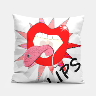 Thumbnail image of Pop Art Retro Comic Red Lips Pillow, Live Heroes