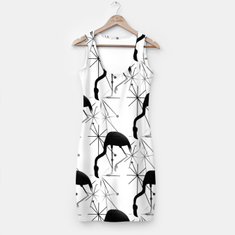 Thumbnail image of Midcentury Modern Atomic Starbursts Flamingos Pattern Simple Dress, Live Heroes