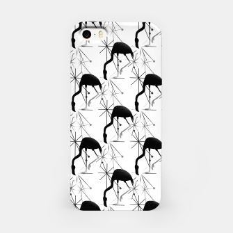 Thumbnail image of Midcentury Modern Atomic Starbursts Flamingos Pattern iPhone Case, Live Heroes