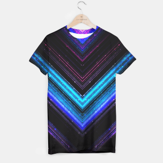 Sparkly metallic blue and purple galaxy lines T-shirt thumbnail image