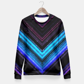 Sparkly metallic blue and purple galaxy lines Fitted Waist Sweater thumbnail image