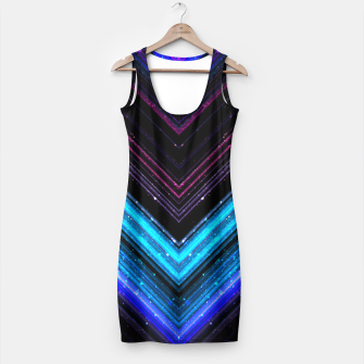 Sparkly metallic blue and purple galaxy lines Simple Dress thumbnail image