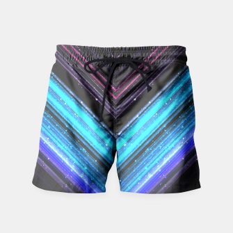 Sparkly metallic blue and purple galaxy lines Swim Shorts thumbnail image