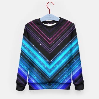 Sparkly metallic blue and purple galaxy lines Kid's Sweater thumbnail image