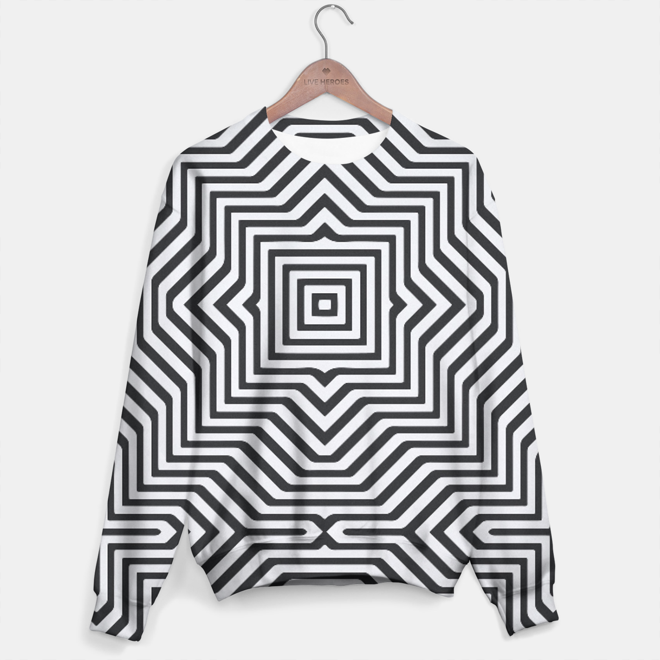 Image de Minimal Geometrical Optical Illusion Style Pattern in Black & White Sweater - Live Heroes