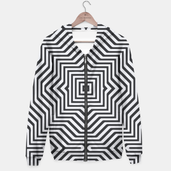 Thumbnail image of Minimal Geometrical Optical Illusion Style Pattern in Black & White Hoodie, Live Heroes