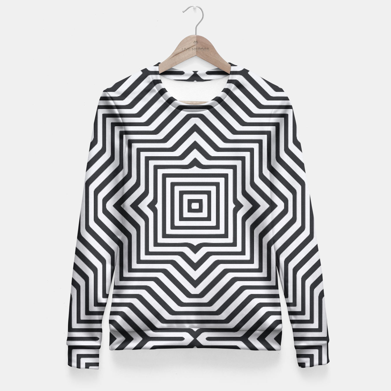 Image de Minimal Geometrical Optical Illusion Style Pattern in Black & White Fitted Waist Sweater - Live Heroes