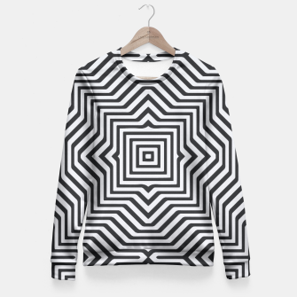Miniature de image de Minimal Geometrical Optical Illusion Style Pattern in Black & White Fitted Waist Sweater, Live Heroes