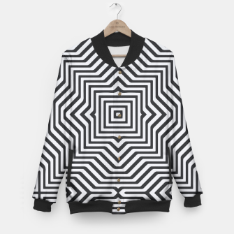 Thumbnail image of Minimal Geometrical Optical Illusion Style Pattern in Black & White Baseball Jacket, Live Heroes