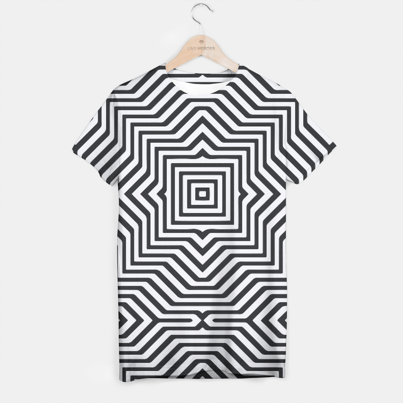 Image de Minimal Geometrical Optical Illusion Style Pattern in Black & White T-shirt - Live Heroes