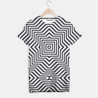 Thumbnail image of Minimal Geometrical Optical Illusion Style Pattern in Black & White T-shirt, Live Heroes