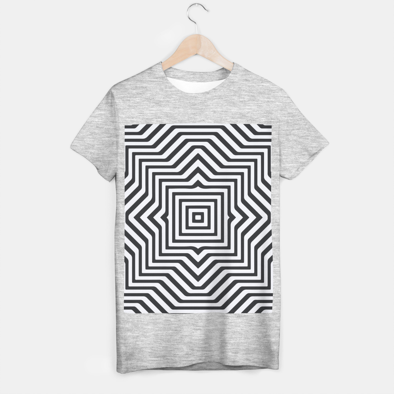Image de Minimal Geometrical Optical Illusion Style Pattern in Black & White T-shirt regular - Live Heroes