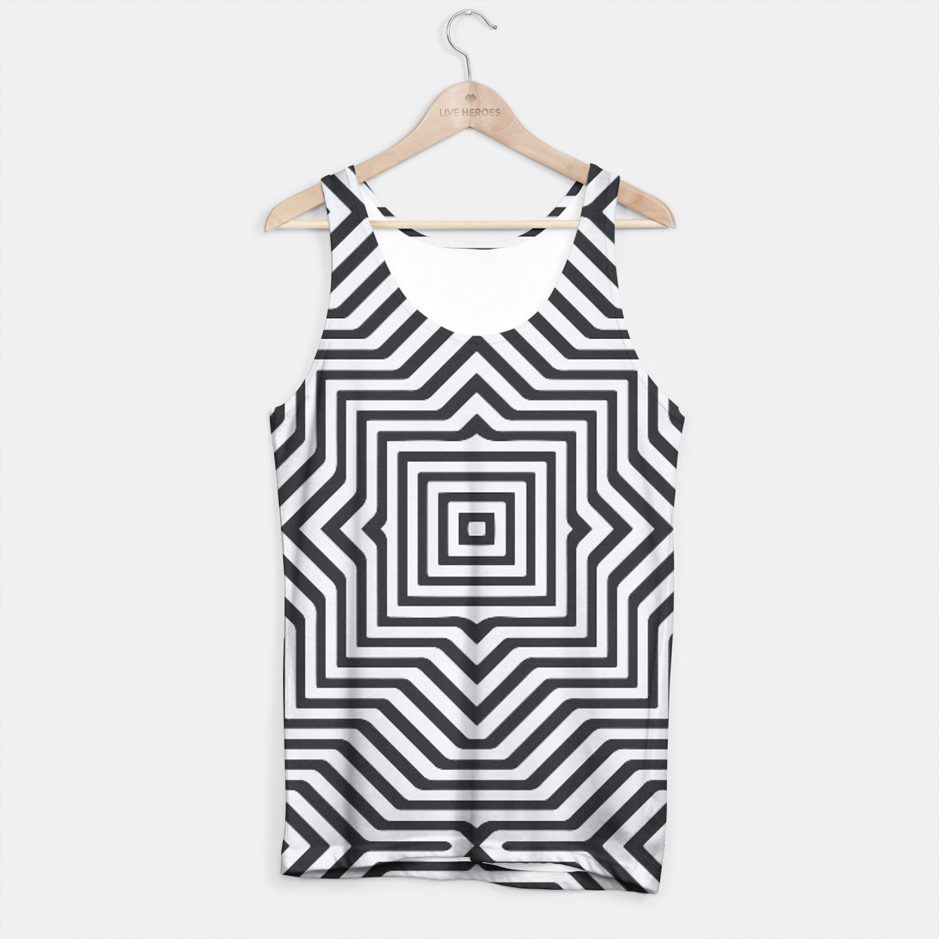 Image de Minimal Geometrical Optical Illusion Style Pattern in Black & White Tank Top - Live Heroes