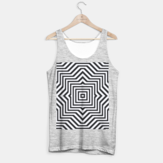 Minimal Geometrical Optical Illusion Style Pattern in Black & White Tank Top regular miniature
