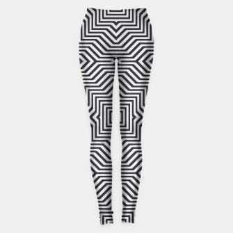 Minimal Geometrical Optical Illusion Style Pattern in Black & White Leggings miniature