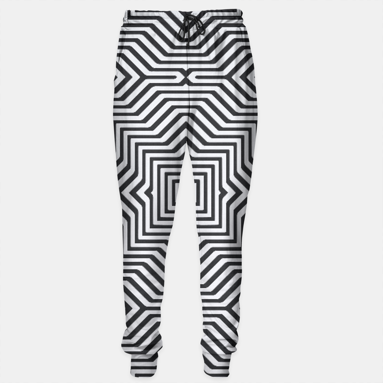 Image de Minimal Geometrical Optical Illusion Style Pattern in Black & White Sweatpants - Live Heroes