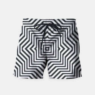 Minimal Geometrical Optical Illusion Style Pattern in Black & White Swim Shorts miniature