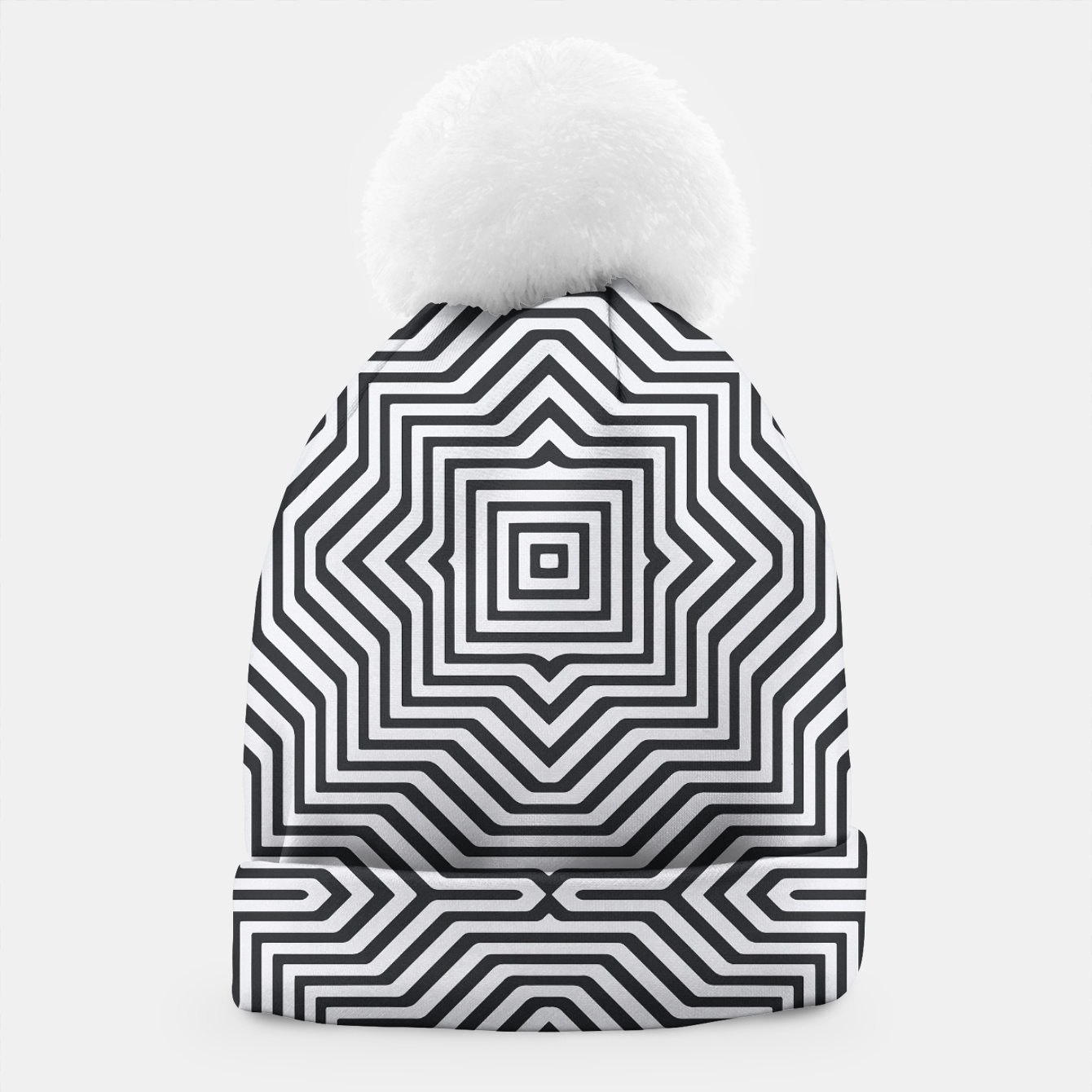 Image de Minimal Geometrical Optical Illusion Style Pattern in Black & White Beanie - Live Heroes