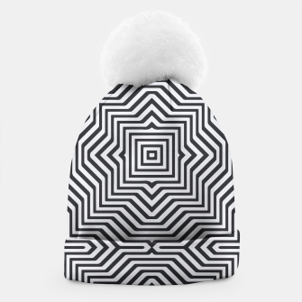 Minimal Geometrical Optical Illusion Style Pattern in Black & White Beanie miniature