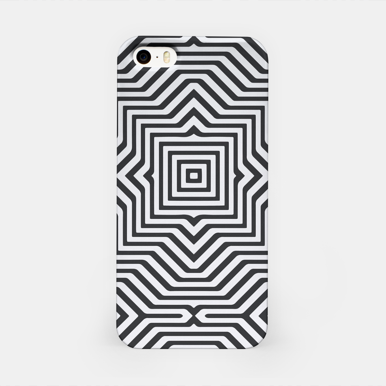 Image de Minimal Geometrical Optical Illusion Style Pattern in Black & White iPhone Case - Live Heroes