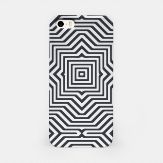 Minimal Geometrical Optical Illusion Style Pattern in Black & White iPhone Case miniature