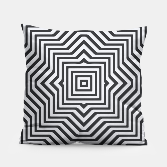 Minimal Geometrical Optical Illusion Style Pattern in Black & White Pillow miniature