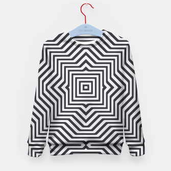 Miniature de image de Minimal Geometrical Optical Illusion Style Pattern in Black & White Kid's Sweater, Live Heroes