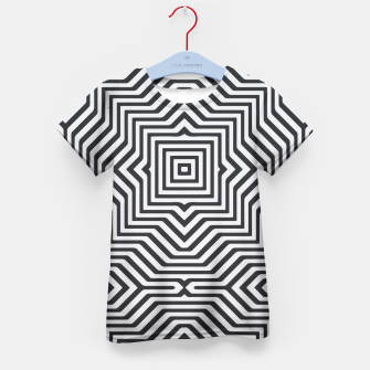 Miniaturka Minimal Geometrical Optical Illusion Style Pattern in Black & White Kid's T-shirt, Live Heroes