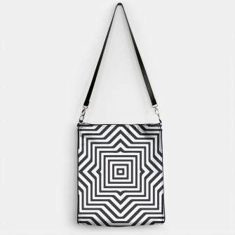 Thumbnail image of Minimal Geometrical Optical Illusion Style Pattern in Black & White Handbag, Live Heroes