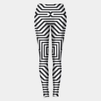 Miniaturka Minimal Geometrical Optical Illusion Style Pattern in Black & White Leggings, Live Heroes