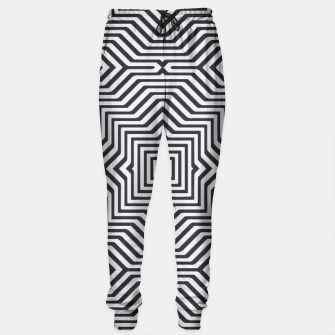 Thumbnail image of Minimal Geometrical Optical Illusion Style Pattern in Black & White Sweatpants, Live Heroes