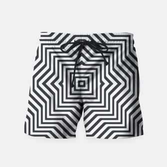 Miniaturka Minimal Geometrical Optical Illusion Style Pattern in Black & White Swim Shorts, Live Heroes