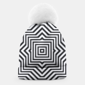 Thumbnail image of Minimal Geometrical Optical Illusion Style Pattern in Black & White Beanie, Live Heroes