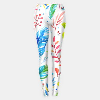 Miniaturka Trendy Blue-Orange Floral Boho Feather Pattern Leggings, Live Heroes