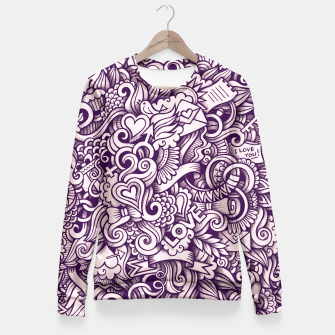 Beautiful Love Doodle Pattern Taillierte Sweatshirt obraz miniatury