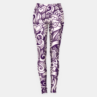 Beautiful Love Doodle Pattern Leggings obraz miniatury